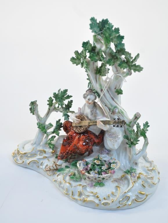 LATE 19TH C. MEISSEN GROUP FEMALE MUSICAN