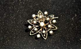 ANTIQUE 14K GOLD & DIAMOND FLOWER BROOCH PENDANT