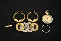 18K GOLD POCKET WATCH AND JEWELRY GROUPING