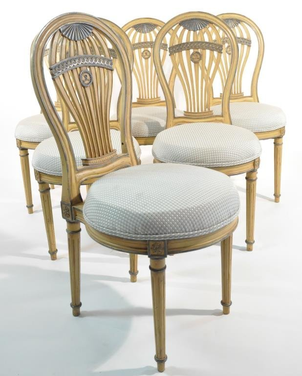 SET OF 6 FRENCH BALLOON BACK CHAIRS