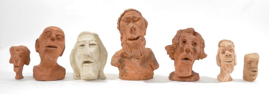 HENRY HILLMAN CLAY HEAD SCULPTURE GROUP