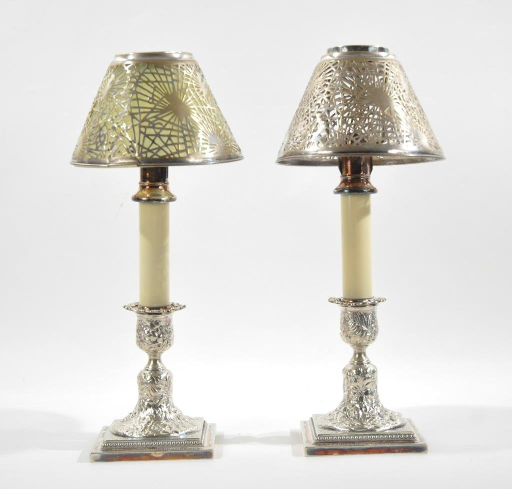 PAIR OF TIFFANY STUDIO & TIFFANY CO CANDLE HOLDERS