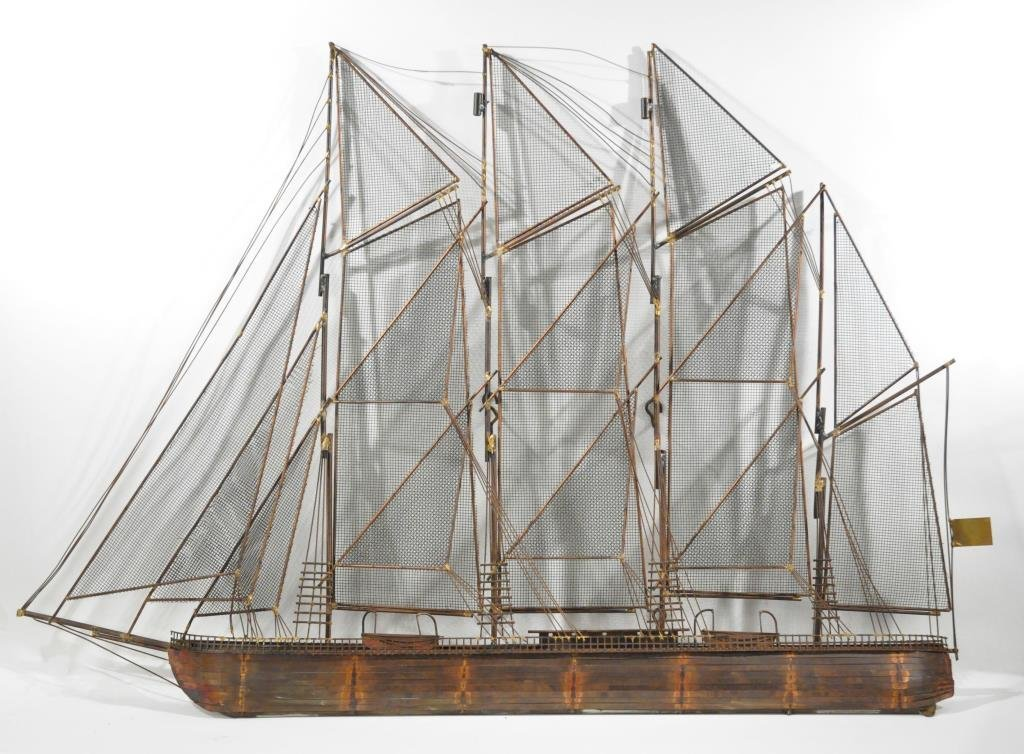 CURTIS JERE SAILBOAT WALL SCULPTURE