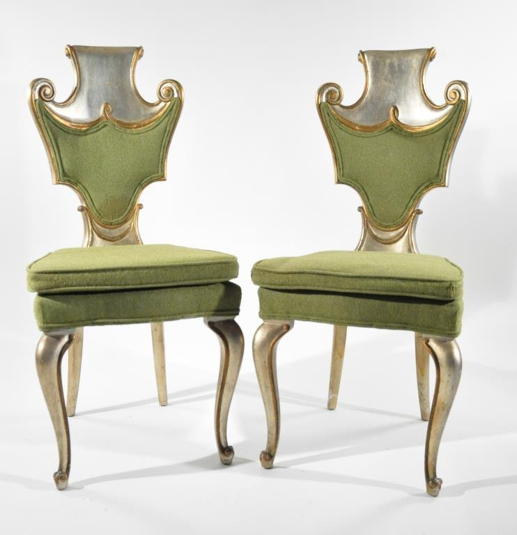 PAIR OF GROSFELD HOUSE STYLE SILVER CHAIRS