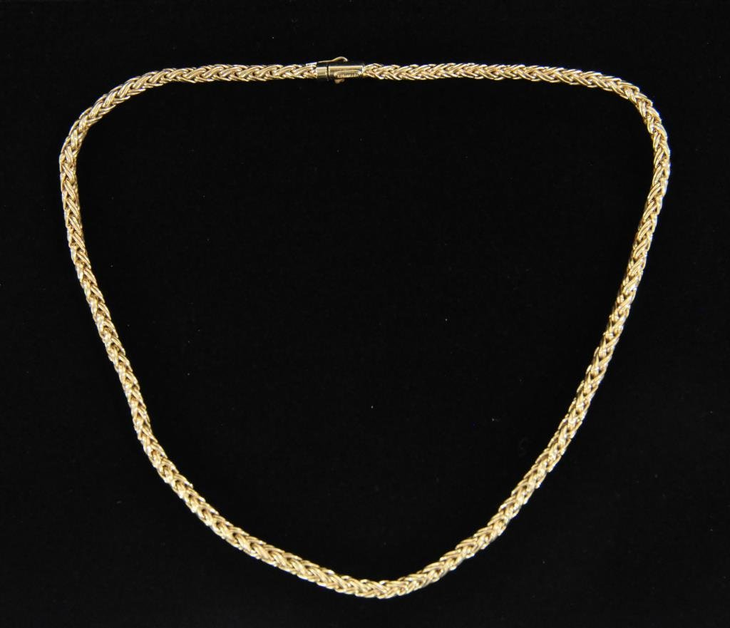 14K GOLD TIFFANY & CO BRAIDED ROPE NECKLACE