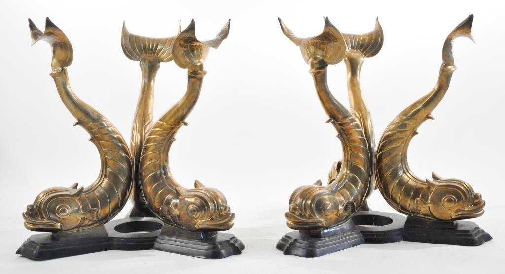 PAIR OF MAITLAND SMITH BRASS KOI FISH TABLE BASES