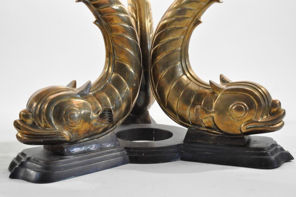 PAIR OF MAITLAND SMITH BRASS KOI FISH TABLE BASES - 3