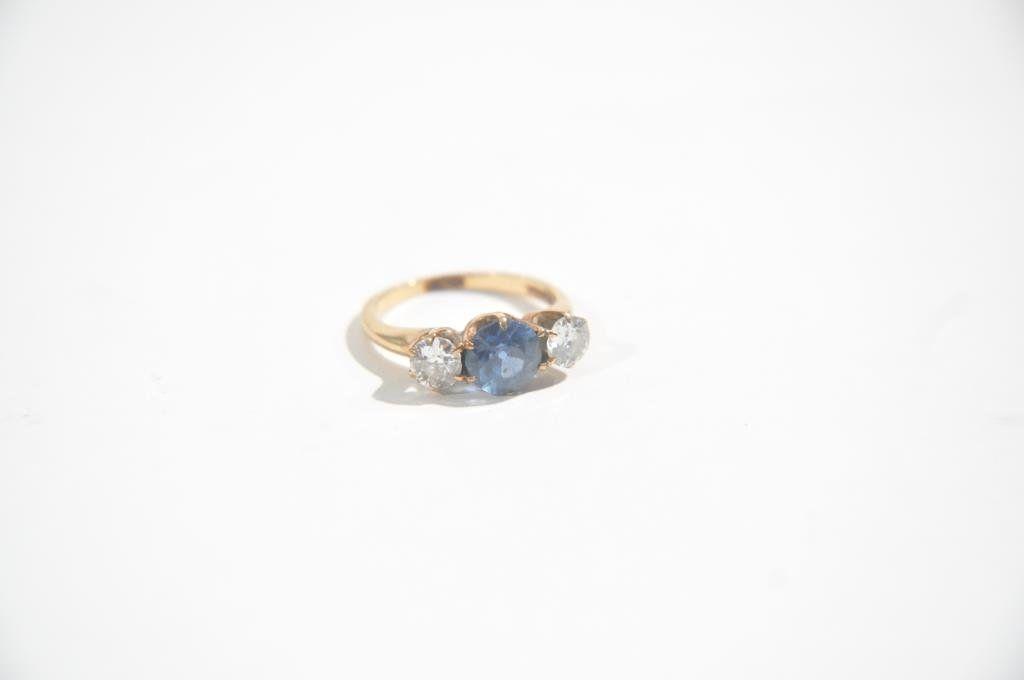 ANTIQUE 14K GOLD SAPPHIRE & DIAMOND RING