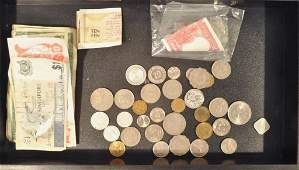 GROUPING OF FOREIGN COINS & MONEY