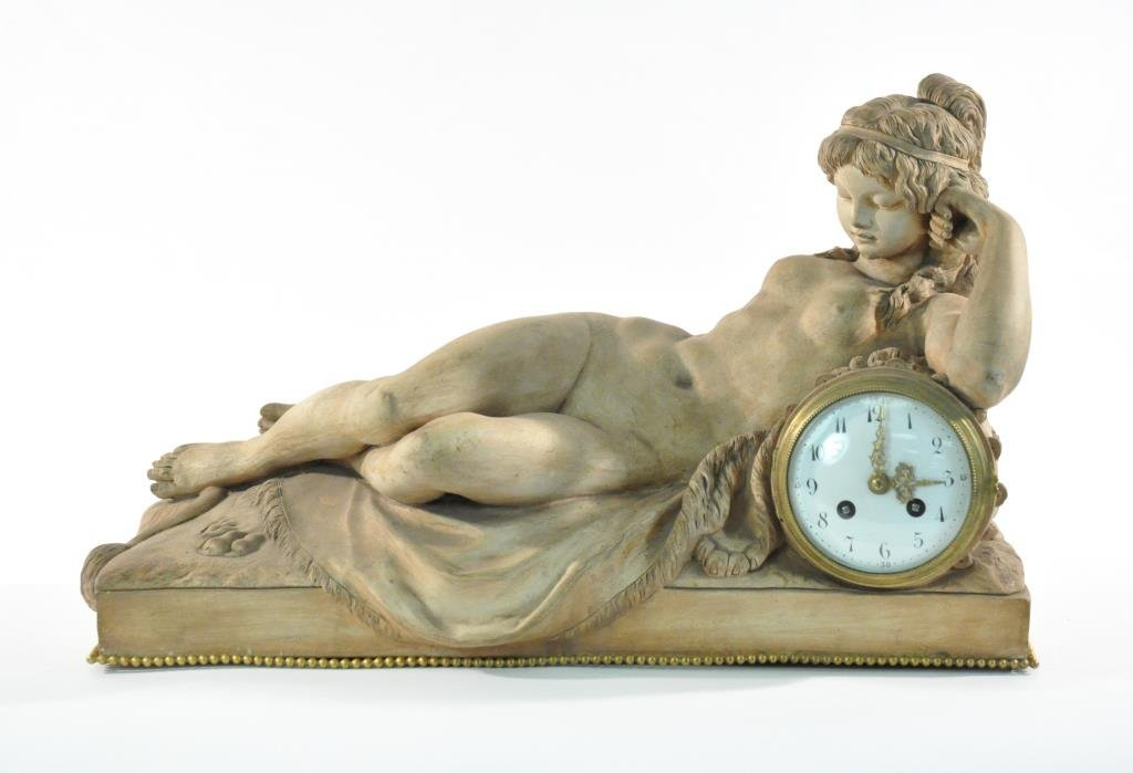 SEVRES FRENCH TERRA-COTTA NUDE FIGURE CLOCK