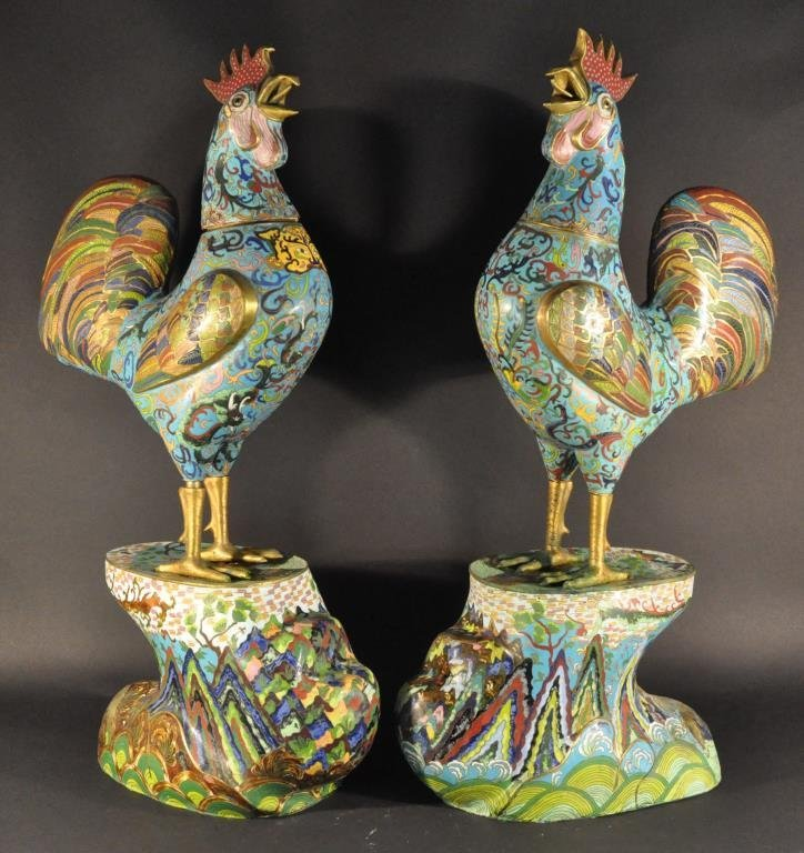 MONUMENTAL CHINESE CLOISONNE ROOSTERS PAIR
