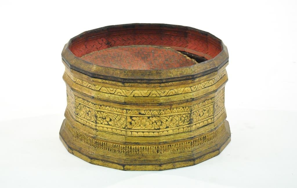 19TH C. SIAM THAI GILT LACQUERED AND WOVEN BOX