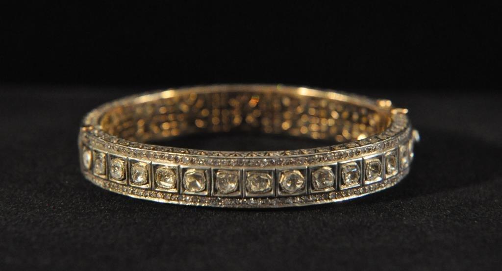 ROSE CUT DIAMOND GOLD AND SILVER BRACELET #1