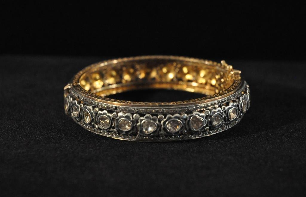 ROSE CUT DIAMOND GOLD AND SILVER BRACELET #2