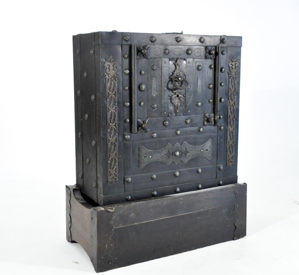 EARLY IRON STUDDED SAFE STRONG BOX HIDDEN LOCK
