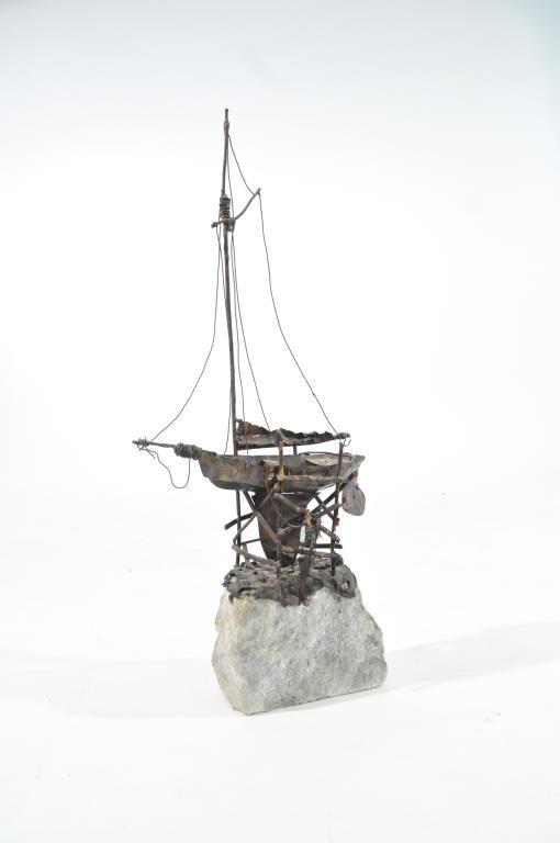 MID-CENTURY BRUTALIST SHIP SCULPTURE SIGNED PARKER