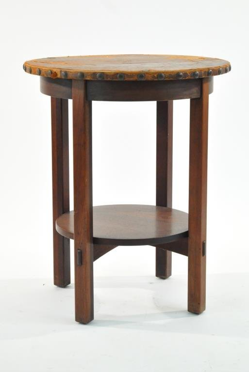 L. & J.G. STICKLEY LEATHER TOP TABLE