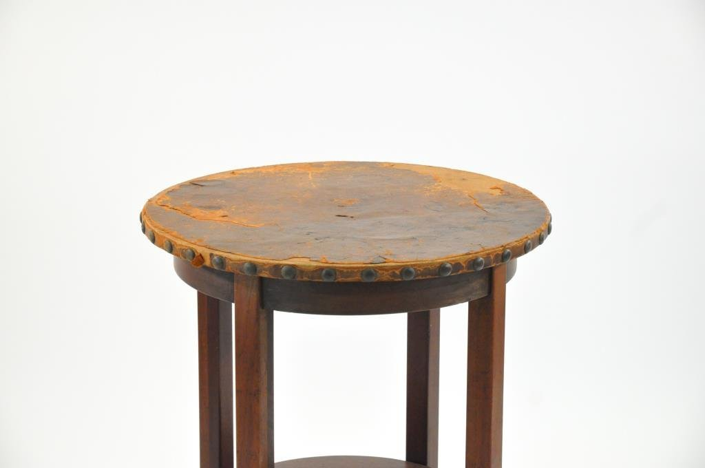 L. & J.G. STICKLEY LEATHER TOP TABLE - 2