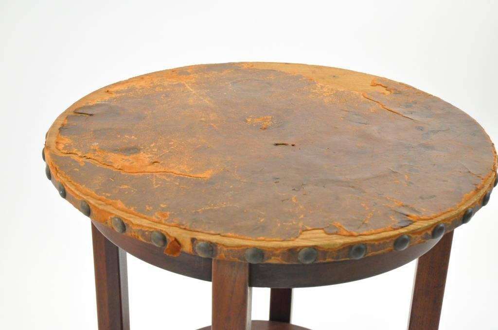 L. & J.G. STICKLEY LEATHER TOP TABLE - 3