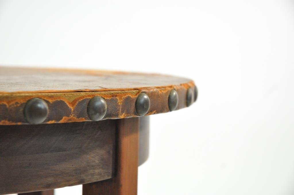 L. & J.G. STICKLEY LEATHER TOP TABLE - 6