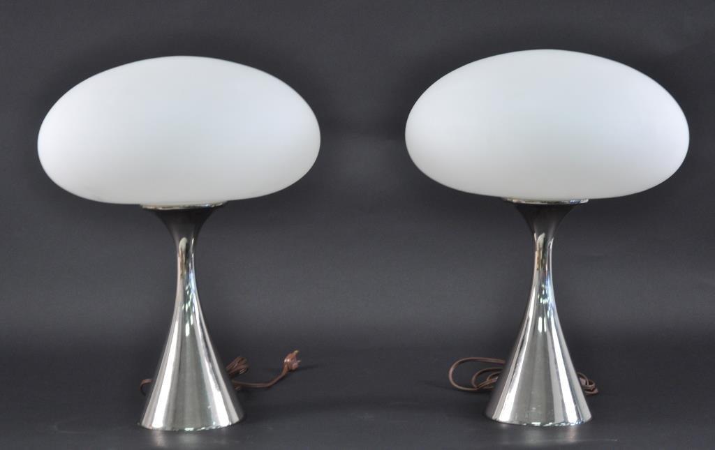 PAIR OF LAUREL MUSHROOM SHADE LAMPS