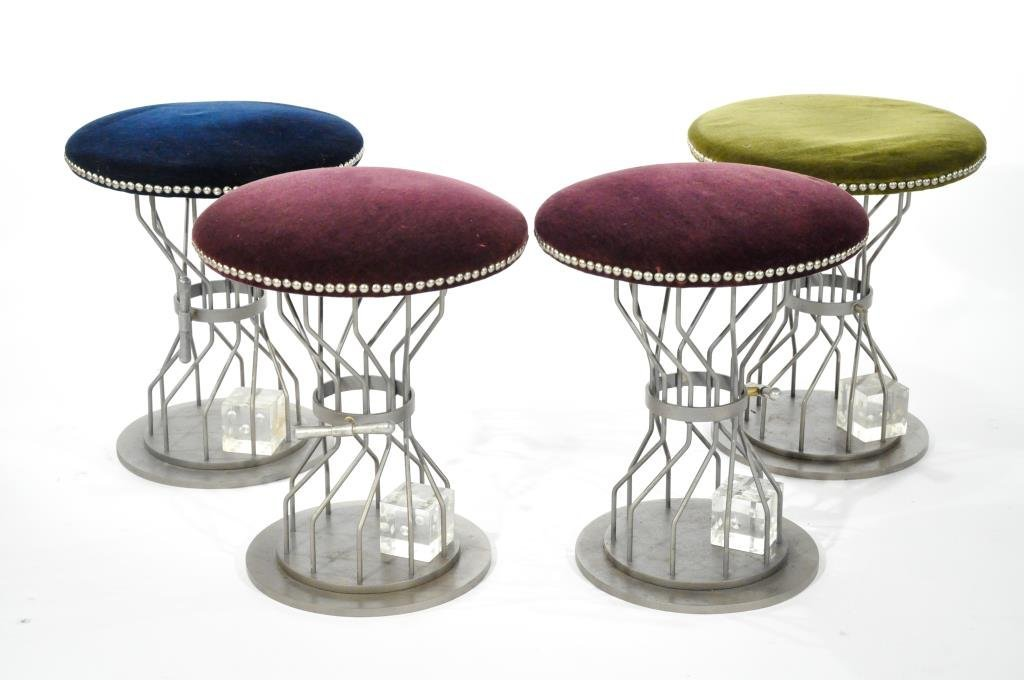 GROUP OF 4 MID-CENTURY GAMING STOOLS