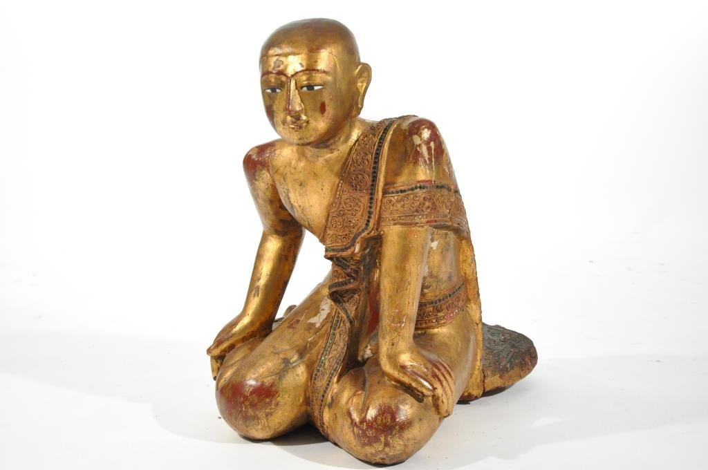 19TH C. MANDALAY PERIOD GILDED TEMPLE MONK FIGURE