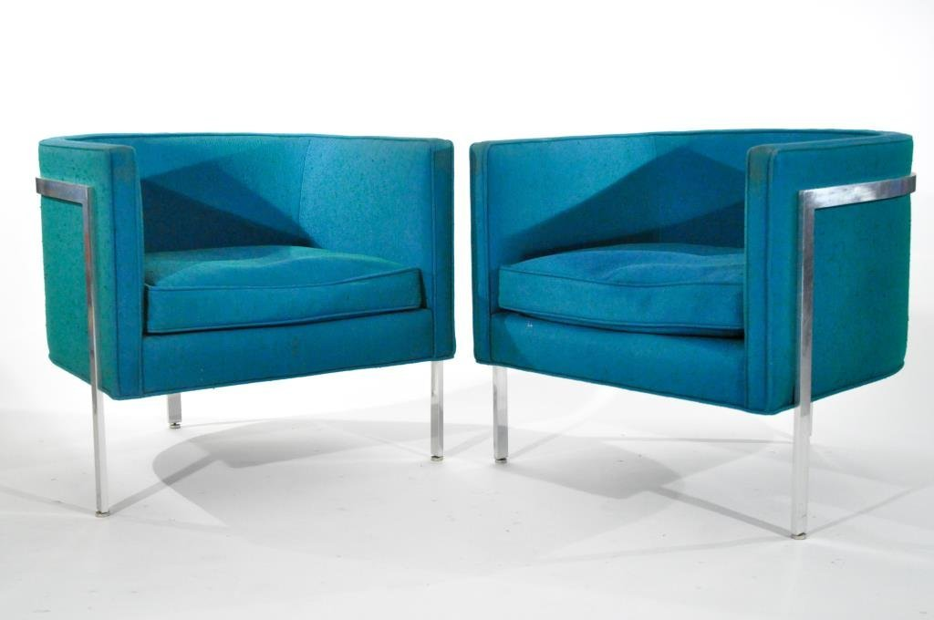 HARVEY PROBBER, PAIR OF BARREL LOUNGE CHAIRS