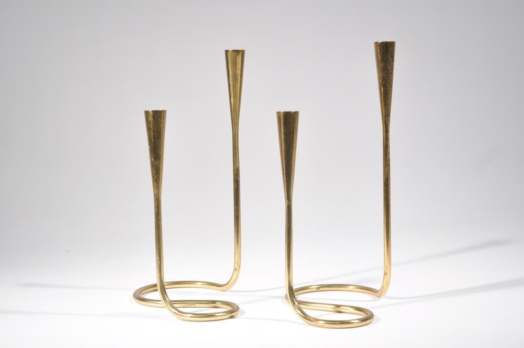 MID-CENTURY DANISH BRASS CANDLESTICKS