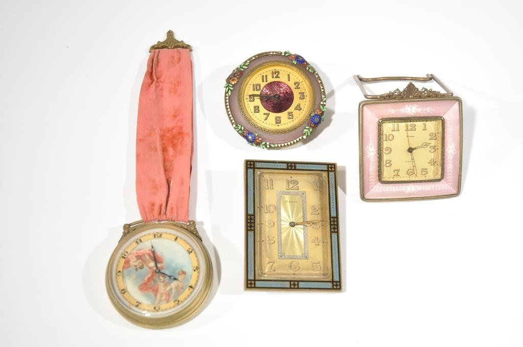 ENAMEL AND GUILLOCHE & PAINTED CLOCK GROUPING