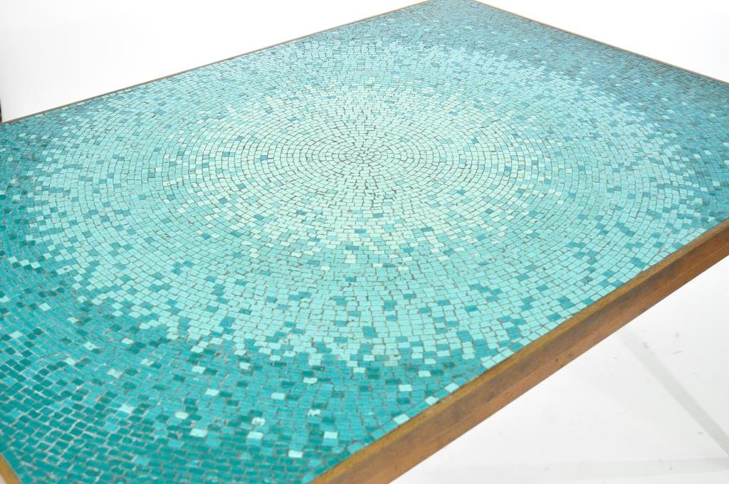 MID-CENTURY TEAK & MOSAIC GLASS TOP DINING TABLE