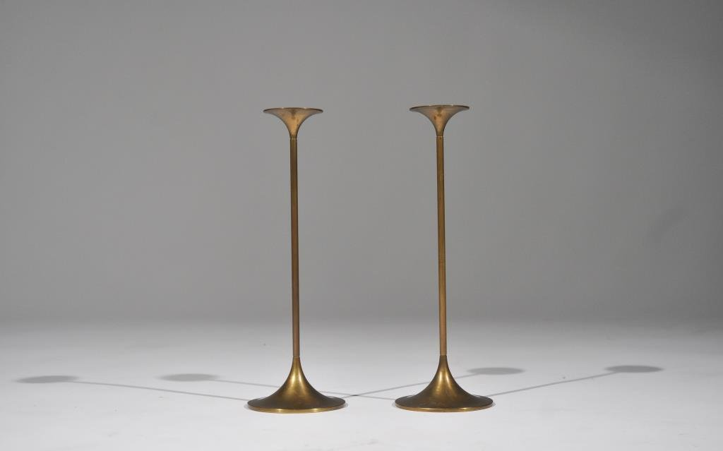PAIR OF TORBEN ORSKOV DANISH BRASS CANDLESTICKS
