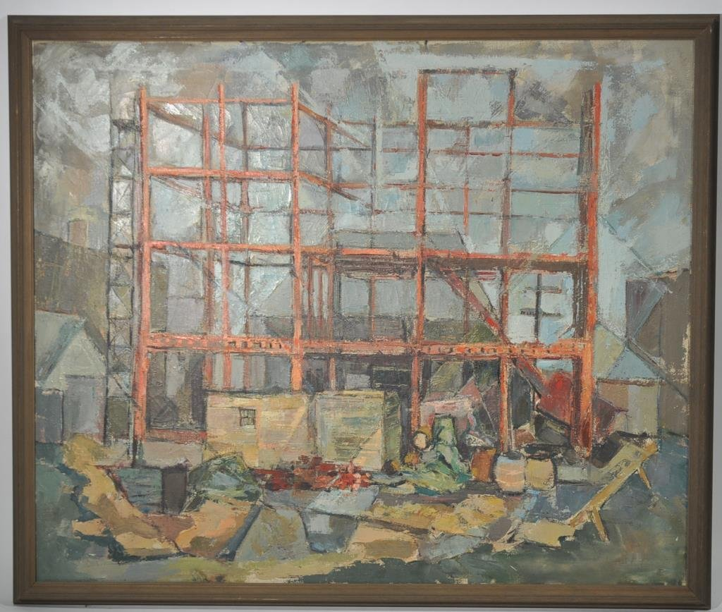 MID-CENTURY OIL ON CANVAS CONSTRUCTION PAINTING