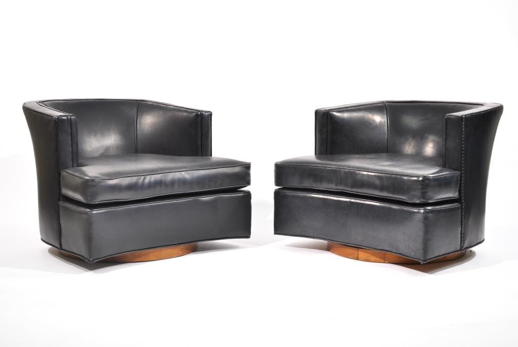 PAIR OF HARVEY PROBBER BLACK SWIVEL CLUB CHAIRS