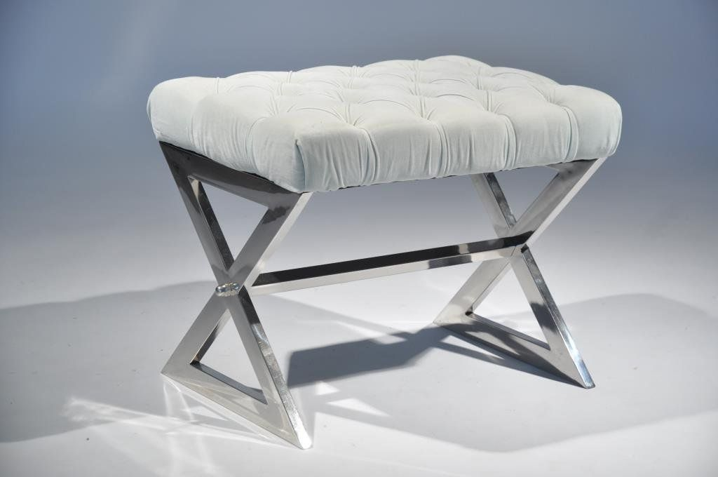 CHROME X-BASE TUFTED BENCH SEAT
