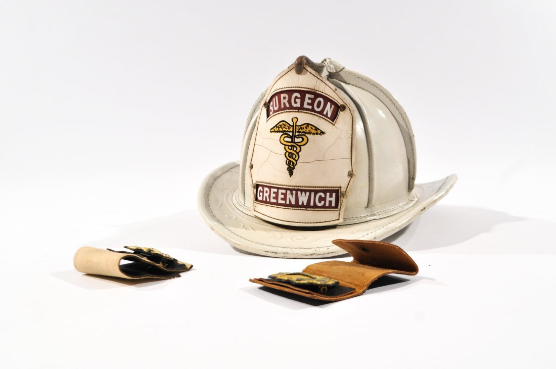 CAIRNS LEATHER FIRE HELMET BADGE GREENWICH SURGEON - 2