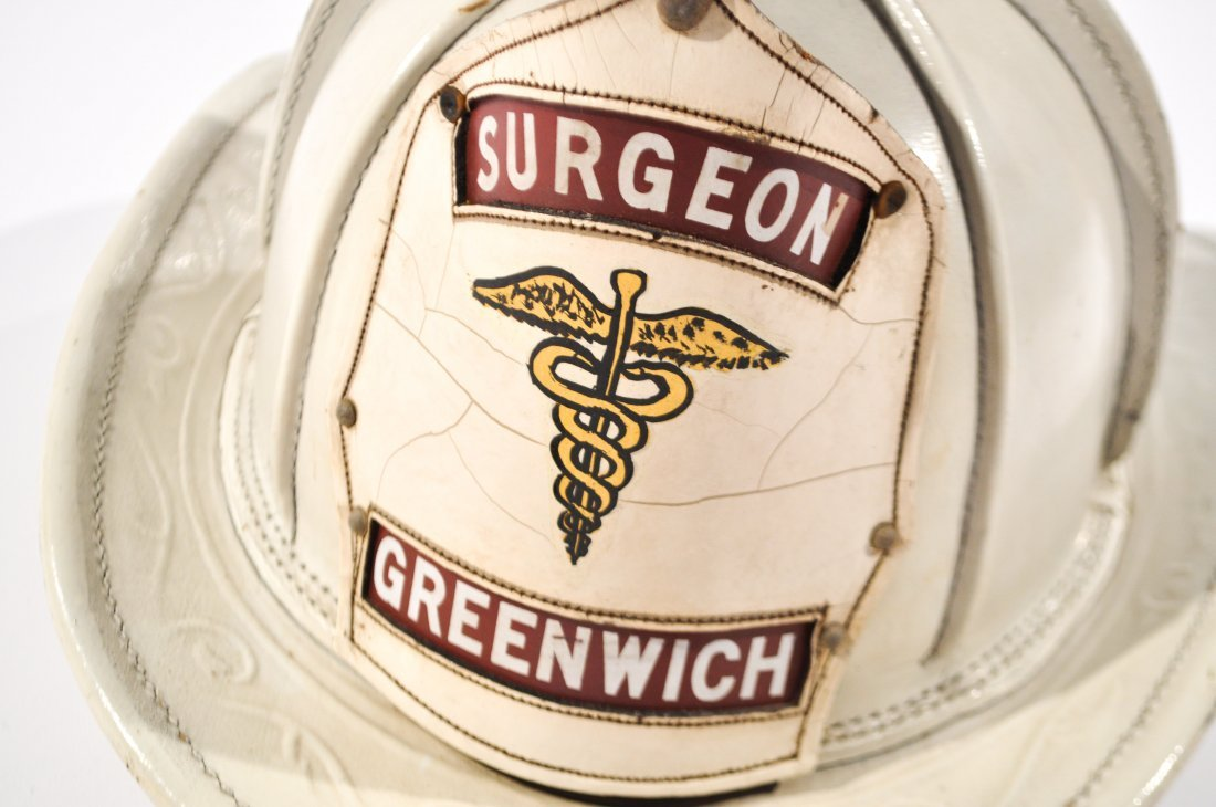 CAIRNS LEATHER FIRE HELMET BADGE GREENWICH SURGEON - 3