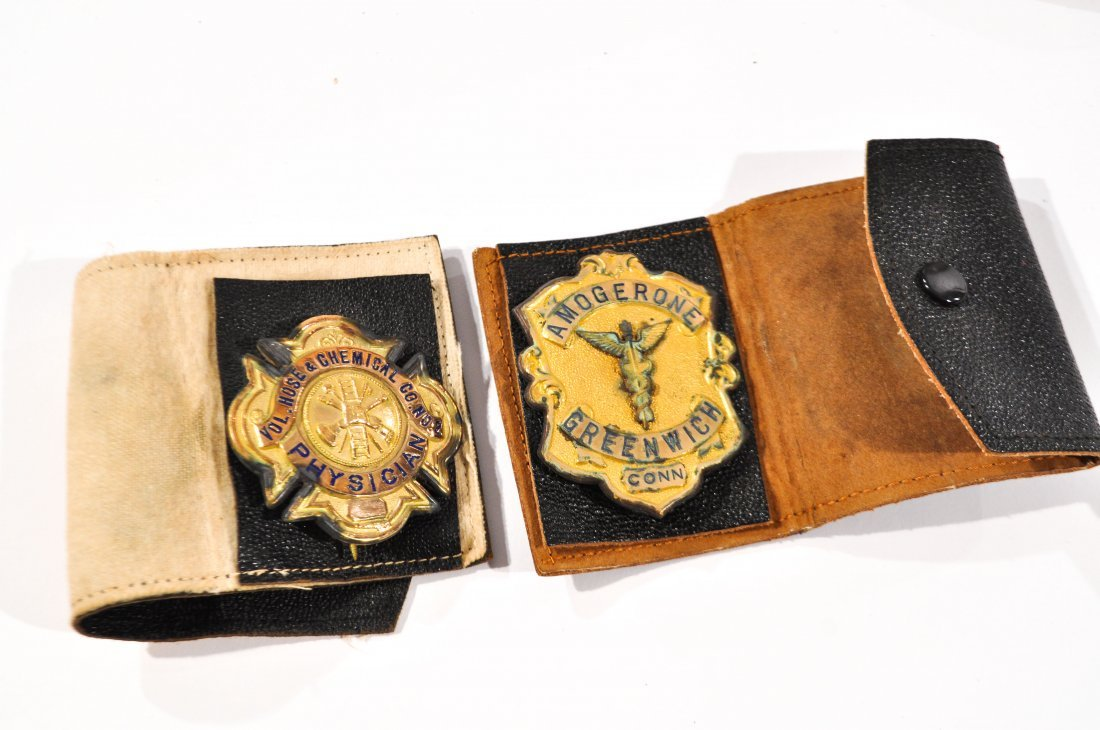 CAIRNS LEATHER FIRE HELMET BADGE GREENWICH SURGEON - 5