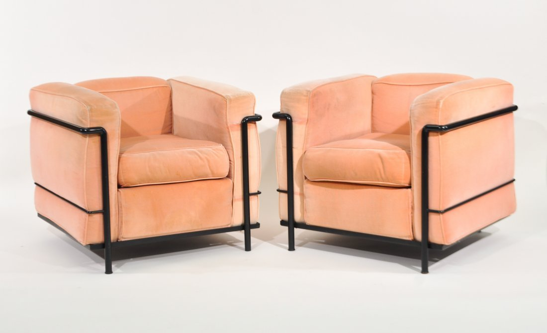 PAIR OF LE CORBUSIER LC2 LOUNGE CHAIRS FOR CASSINA