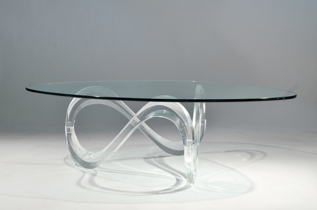 Lucite Coffee Table.Charles Hollis Jones Style Lucite Coffee Table