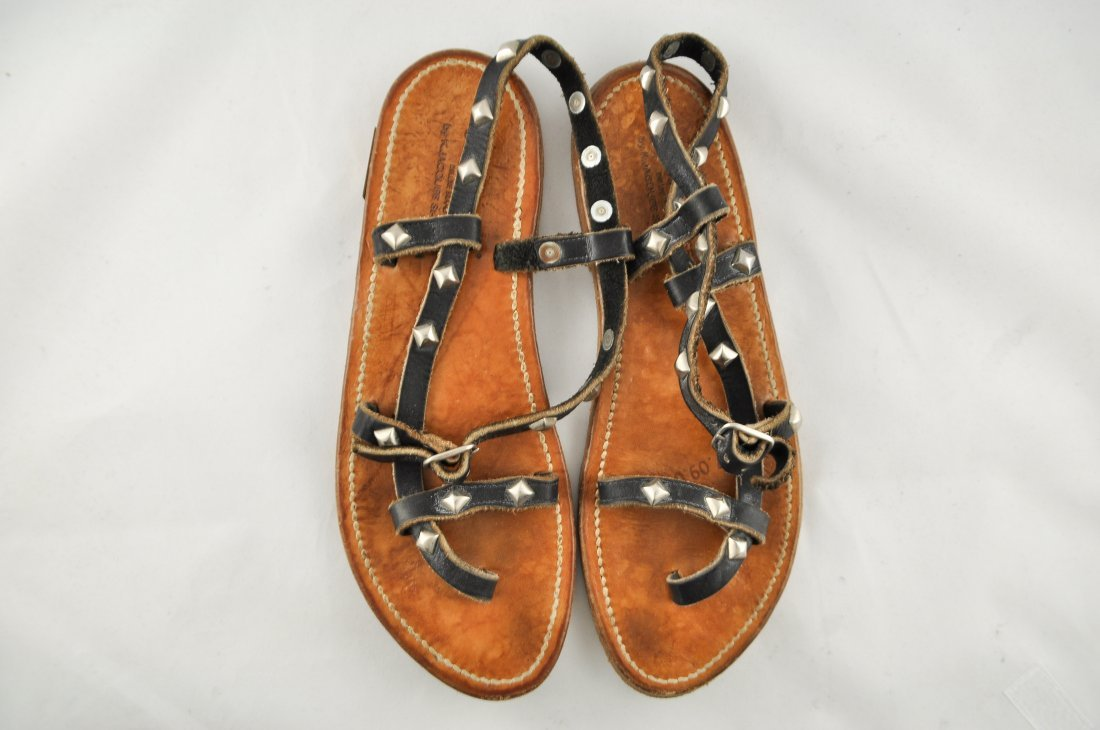 GOLDEN GOOSE K. JACQUES LEATHER SANDALS