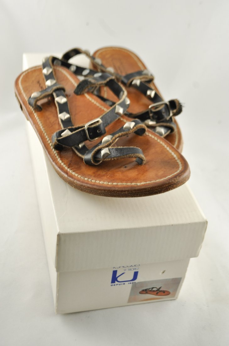 GOLDEN GOOSE K. JACQUES LEATHER SANDALS - 2