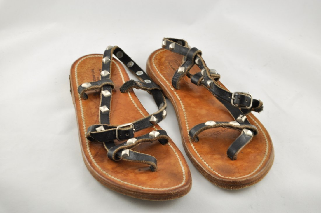 GOLDEN GOOSE K. JACQUES LEATHER SANDALS - 3
