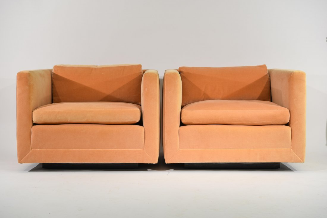 PAIR OF MILO BAUGHMAN STYLE CUBE CHAIRS
