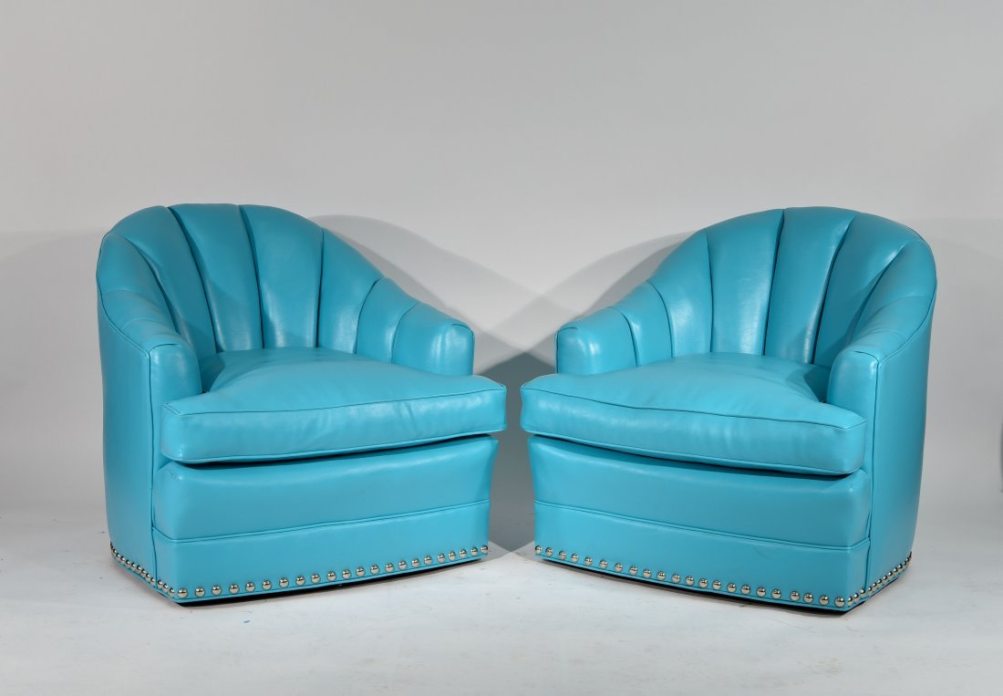 PAIR OF TURQUOISE WARD BENNETT STYLE CHAIRS