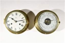 SCHATZ SHIP CLOCK & MATCHING BAROMETER