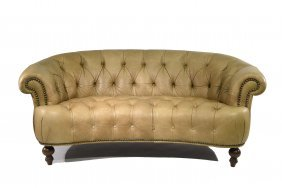 Chesterfield Tufted Leather Loveseat