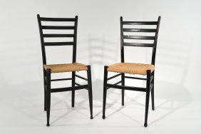 Pair Gio Ponti Style Ladder Back Chairs