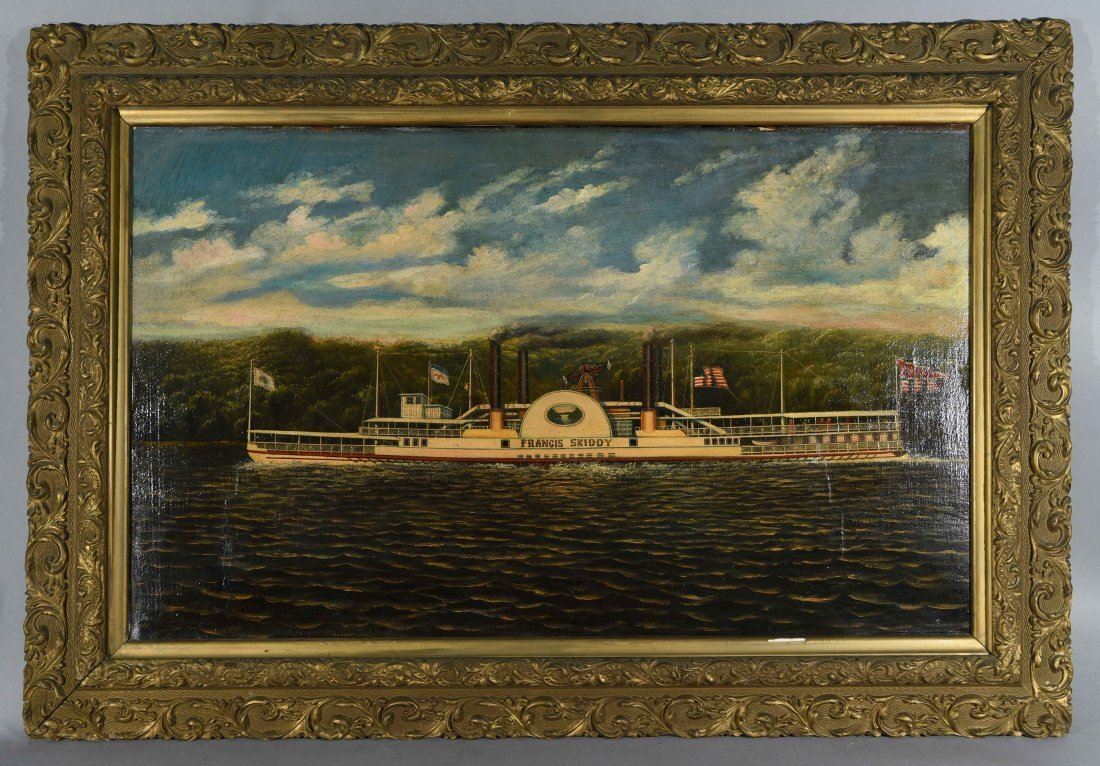 19TH C. STEAMBOAT FRANCIS SKIDDY O/C PAINTING