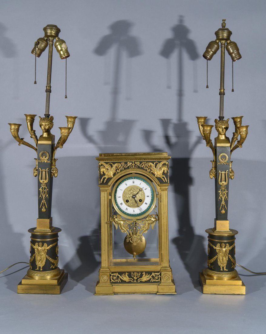 FRENCH EMPIRE MANTEL CLOCK & CANDELABRAS